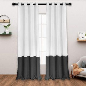 "Two 84"" colorblock silver/grey Blackout curtains"